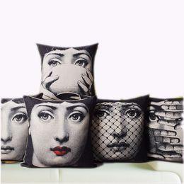 Wholesale Hospital Art - Wholesale- Vintage Fornasetti Art Beauty Face SKULL Custom Made Pillow Cover Black and WHite Pillow Case Pillow Cover Decorative Pillowcas