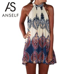 Wholesale Work Out Clothing - Wholesale- Anself Fashion Women Boho Dress Summer Loose Printed Halter Style Sleeveless Hippie Mini Dress Plus Size Women Clothing Vestidos