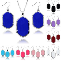 Wholesale Hot sale Kendra Scott Jewelry sets Solid Acrylic rhombus pendant Necklaces Chandelier Earrings Sets Silver Gold Plated Jewelry Set For Women
