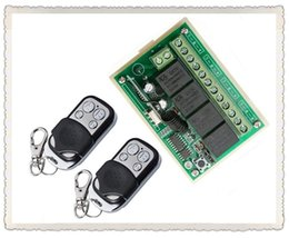 Wholesale Rf Radio Switch - Wholesale- NEW DC12V 4CH 10A Radio Controller RF Wireless Push Remote Control Switch 315 MHZ 433 MHZ teleswitch 2 Transmitter +1 Receiver