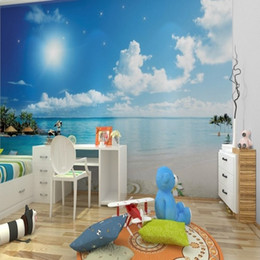 Wholesale Sky Blue Wedding Themes - Free Shipping 3D Stereo Custom Natural Scenery Wallpaper TV Sofa Theme Hotel Living Room Decoration Mediterranean Blue Sky Wallpaper Mural