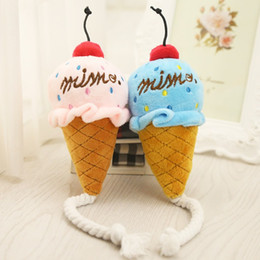 Peluche di ghiaccio online-Pet Toys Squisita Ice Cream Sound Pink Blue Lovely Puppy Peluche Squeak Toy For Dog Cat Chew Puzzle Forniture 4gg F R