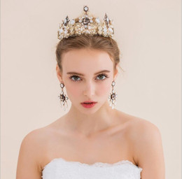 Wholesale Tiaras End Crowns - DG Baroque crown diamond pearl bride high-end wedding jewelry wholesale free delivery