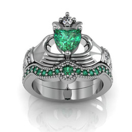 Wholesale Sapphire Engagement Rings White Gold - Eternal Claddagh Ring Sets Luxury 10KT White Gold Filled 1CT Heart Green Sapphire Women's Engagement Wedding ring for Women Gift Size 5-11