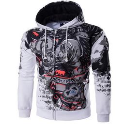 Wholesale Rhinoceros 3d - Men's 2017 Hooded Hip-Hop Sweatshirt Fun 3D Zipper Body Rhinoceros Hooded Men's Pullover