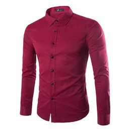 Wholesale Red Tuxedo Shirts - Wholesale- 9 Color Mens Dress Slim Fit Shirts Long Sleeve Solid Casual Social Shirt Male Brand Clothing Red Tuxedo shirt Men Plus 5XL Sale