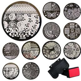 Wholesale Diy Nail Art Stamping Kit - Wholsale 1sets Stamping Kits 10pcs Stamp+Stamper+Scraper Nail Art Round Stainless Steel Plates DIY Polish Templates Nail Tools
