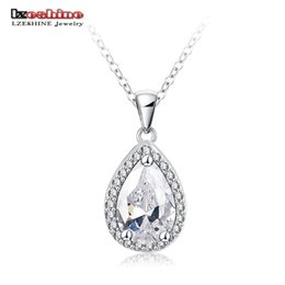 Wholesale Drop Shaped Stone Pendant - Wholesale- LZESHINE Romantic Water Drop Shape Zirconia Pendants Necklace Silver Plate Ladies Jewelry Pendant for Christmas Gift CNL0058-B