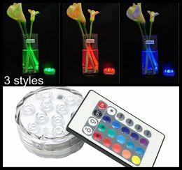 multicolore telecomandato sotto immersione Sconti 10 LED multicolore sottomeribile impermeabile del partito di cerimonia nuziale del partito del floreale del vaso di base del blub di telecomando caldo Hot