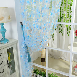 Wholesale Valances For Windows - 5 Colors Curtain Scarf Sheer Voile Door Window Curtains Drape Panel Valance Curtains for Living Room Fit Rod Pocket