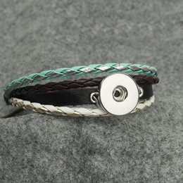 Wholesale Diamond Braid Bracelet - 18mm Braided Leather Snap jewelry Button Cuff Bracelet Crystal Diamond Metal Interchangeable Jewelry Ginger Snaps Jewelry diy bracelet