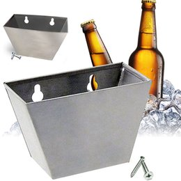 Wholesale Bottling Bucket - 1pc Stainless Steel Wall Mounted Opener Box Corkscrews Beer Barware Box Bottle Cap Catcher with Screws 14*9*9.6cm