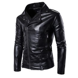 Wholesale Leather Sleeve Denim Jacket - Winter Bomber Jackets For Men Outdoor PU Brown Black Winter Long Motorcycle Shell leather Fold Sleeve Denim Mens Jackets Outerwear T170721