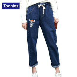 Wholesale Puppy Jeans - Wholesale- 2017 Winter High Quality Kawaii Puppy Embroidery Elastic Waist Jeans Woman Trousers Nine Pants Denim Street Harem Pants 2 Colors