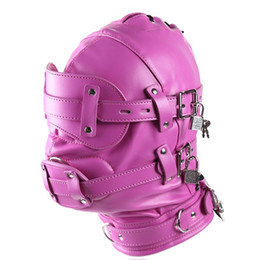 Wholesale Pink Bdsm Restraints - Bdsm Fetish Sex Leather Hood Mask Headgear Mouth Plug Bondage Slave Restraint Lockable Flirting Toys In Adult Games For Women