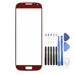 s4 écran tactile remplacements Promotion Remplacement de lentille de verre pour écran tactile 100PCS avant extérieur pour Samsung Galaxy S4 i9505 i337 i9500 avec outils
