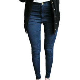 Wholesale Girls Legging Jeans - Wholesale- Female Skinny Pencil Jeans Woman Vintage Style Blended Girl Jeans Womens Small Leg Pants Super Quality Femme Solid Trousers K0