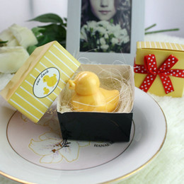 Wholesale Duck Scented Soap - Artistic Handmade Scented Mini Yellow duck Soap for baby shower favor wedding souvenirs Party Favor Yellow Paper Box Packing