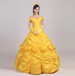 Wholesale Gown Music - OISK Custom Beauty and Beast belle princess dress for christmas halloween women adult size costume Party gown ball Best Quality