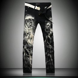Wholesale New Mix Skinny Jeans - 2017 new men's jeans pants male personality painted printing flower leisure mixed batch of cotton Robin Jeans for men