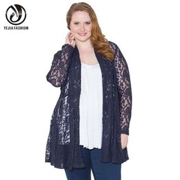 Wholesale Ladies Summer Lace Cardigan - Wholesale-YEJIA FASHION Plus Size Women Clothing Summer Autumn Long Sleeve Lace Crochet Cardigans Coat Casual Sexy Ladies Tops Jackets Red