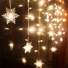 Wholesale Ceiling Decorations For Parties - Wholesale-3.5M 16Pcs Snowflake LED Curtain String Lights Lamp For New Year Christmas Tree Wedding Party Ceiling Garden Decoration
