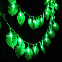 Wholesale Leaf Light String - Wholesale- 10M 100PCS Green leaf Led String Light Christmas Fairy String Garland Outdoor Garden Party Wedding String Light Garland 220V