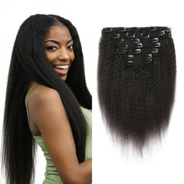 Wholesale Women Hair Extensions - Kinky Straight Clip in Hair Extensions for Black Women Malaysian Human Hair Natural Color Clip ins 7pcs set G-EASY