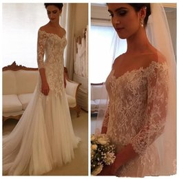Wholesale Cover Photo New Flower - New Mermaid Long Bridal Gown With Elegant Lace Applique V Neck 3 4 Sleeve Covered Button Back Wedding Dresses 2017