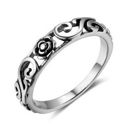 Wholesale Flower Design Rings - New Solid 925 Sterling Silver Rings Crowd Pattern & Flower Design Rings For Women Vintage Style Jewelry