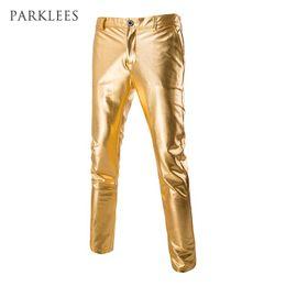 Wholesale Mens Wedding Trousers - Wholesale- Mens Shiny Pants Silver Black Gold Trousers Nightclub Stage Costumes Male Fashion Pantalon Homme Performances Wedding Clothes