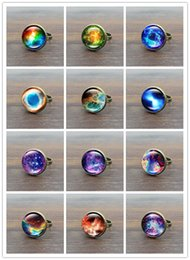 Wholesale Space Glasses - Wholesale ! Hot! 10pcs Galaxy Space Glass Cabochon Vintage Ring Bronze Copper Rings for Women Jewelry Adjustable