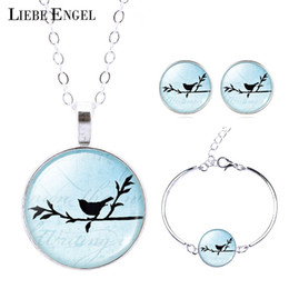 Wholesale Mixed Birds Pendant - LIEBE ENGEL 2017 New Silver Color Jewelry Bird Pendant Necklace Stud Earrings Bracelets Jewelry Sets for Gift