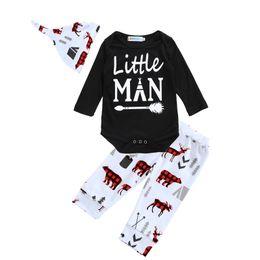 Wholesale Little Girl Pants Outfit - Baby Clothing Set Brand 2017 Autumn Letter Little Man Arrow Romper+Cartoon Animal Pants+Hat Cap 3pcs Kids Boy Girl Clothes Outfits Sets