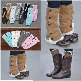 Wholesale Girls Crochet Boots - Baby Girls Winter Leg Warmer legwarmers Button Crochet Knit Boot Socks Toppers Cuffs Stocking Socks Boot Covers Leggings