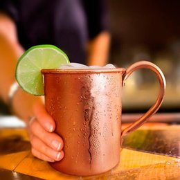 Wholesale Inside Lens - Copper Moscow Mule Mugs Solid Smooth Without Inside Liner For Cocktail Coffee Beer Milk Water Cup Drinkware OOA1964