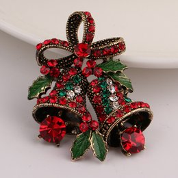 Wholesale Enamel Bell Charms - New Antique Gold Color Silver Color Christmas Gift With Green Enamel Charms Leaf Red Rhinestone Bowknot Bell Brooches for Women Holiday