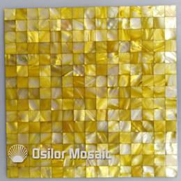 Malla de azulejos de mosaico online-azulejos de mosaico nacarados amarillos para la decoración interior de la casa azulejos de mosaico nacarados de la cáscara de la cocina y el baño