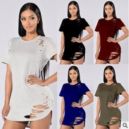 Wholesale Dress Rips - female t-shirt ripped 2017 summer fashion sexy women's t shirt Tops Tees hole solid t-shirt femme tshirt