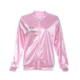 Wholesale Ladies Retro Coats - Wholesale- Halloween Pink Lady Retro Jacket Womens Fancy coat Grease Costume Cheerleader 2016 Autumn fashion jacket