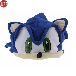 Wholesale Sonic Costumes For Adults - New Sonic The Hedgehog Fleece Plush Hat Cosplay Costumes Blue Cap Brinquedos for Adult Teenager Anime Birthday Gift In Stock