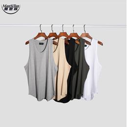 Wholesale Korean Fashion Wear Men - Wholesale- Man si Tun Newest Summer Fashion Streetwear hip hip korean blank clothing shirt summer tank top wear black white grey khaki
