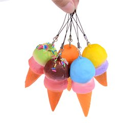 Wholesale Old Cell - Wholesale- 8cm Slow Rising Cell Phone Straps Bread Cute Soft Jumbo Ice Cream Cone Squishy Antistress Scented Key Pendant Charms Kids Toys