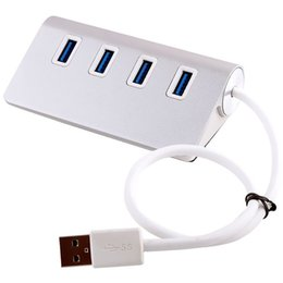 Wholesale Notebook Silver - Quality Aluminium HUB USB3.0 to 2 usb 3.0 Fast Speed 4 Ports Notebook Computer Splitter Extender for Tablet Peripherals Silver