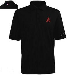 Wholesale Washing Collared Shirts - Wholesale Cheap Baseball NK Atlanta Braves 2014 Players Performance Polo Men's T-Shirt 100% Cotton Free Shipping Black