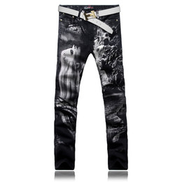 Wholesale Colored Drawing Jeans - Wholesale- Men'S Fashion Long Hair Beauty Print Jeans Male Colored Drawing Painted Slim Denim Pants Black Trousers