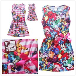 Wholesale Wholesaler Skating Dress - 2 style Girls Summer dresses Smile Pikachu Print one-Neck Skater Pleated Skating Dress girls dresses 5T-12T 008#