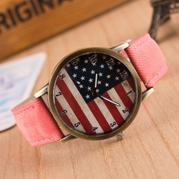 Wholesale Usa Flag Watch - Fashion Quartz USA National Flag Watch Leather Clock unisex Watches Casual Lady Wristwatches Sports Wrist 7color