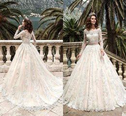 Wholesale Sexy Beach Bridal Gowns - 2017 Stunning Full Sleeves Lace Wedding Dresses Vestidos De Noiva Pricess Ball Gown Wedding Dress Custom Made Vintage Bridal Gowns