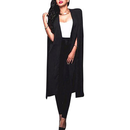 Wholesale Womens Office Jacket - Wholesale- New 2016 Womens Fashion Autumn Casual Office OL Thin Coats Sexy Lady Split Black White Jackets Outwear Plus Size Poncho